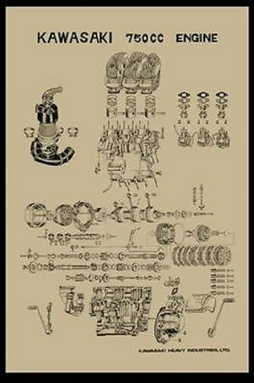 Vintage Kawasaki H2 750 Exploded Engine Motor Diagram Poster 2 U0026 39  X 3 U0026 39  Reprint