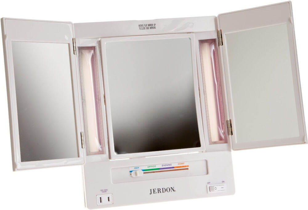 tri fold lighted makeup vanity mirror jgl9w new adjusts ebay. Black Bedroom Furniture Sets. Home Design Ideas