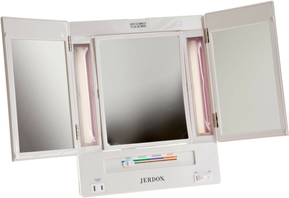 Vanity Light Makeup Mirror : Jerdon 5X Magnification Tri-Fold Lighted Makeup Vanity Mirror JGL9W NEW! Adjusts eBay