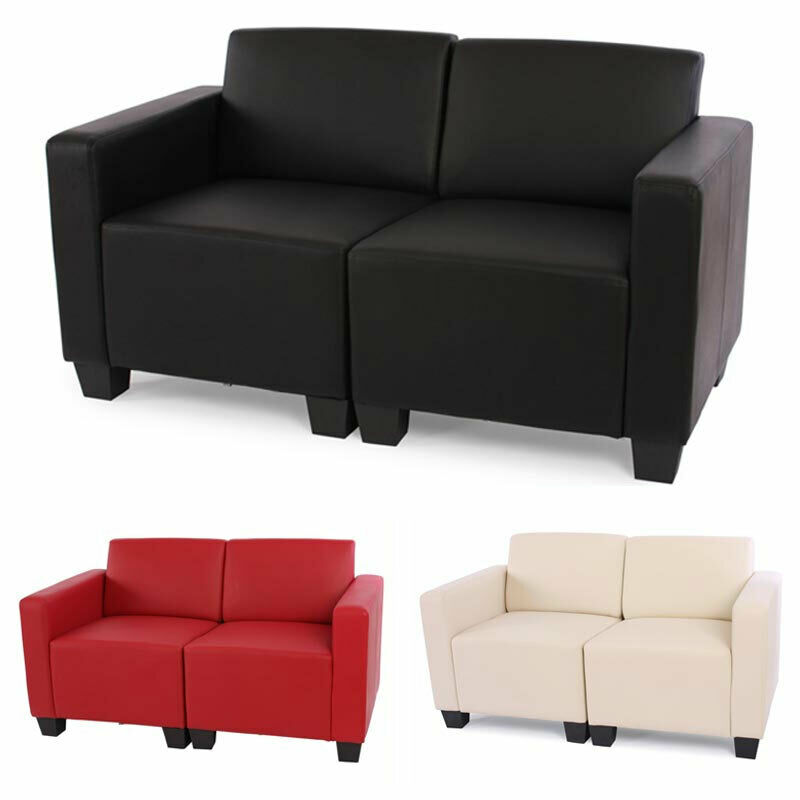 modular zweisitzer sofa couch lyon kunstleder schwarz creme rot ebay. Black Bedroom Furniture Sets. Home Design Ideas
