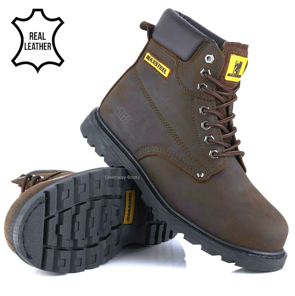 MENS NUBUCK LEATHER SAFETY WORK BOOTS STEEL TOE CAP HIKING ...
