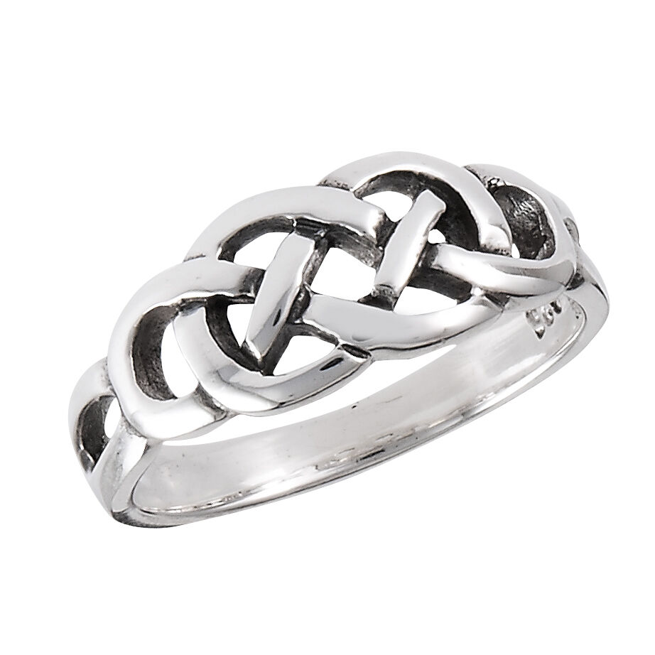 sterling silver celtic weavy knot ring size 5 9 ebay