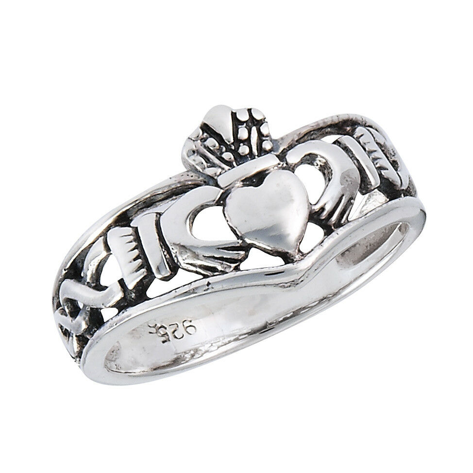 sterling silver claddagh knotwork ring size 3 10 ebay. Black Bedroom Furniture Sets. Home Design Ideas