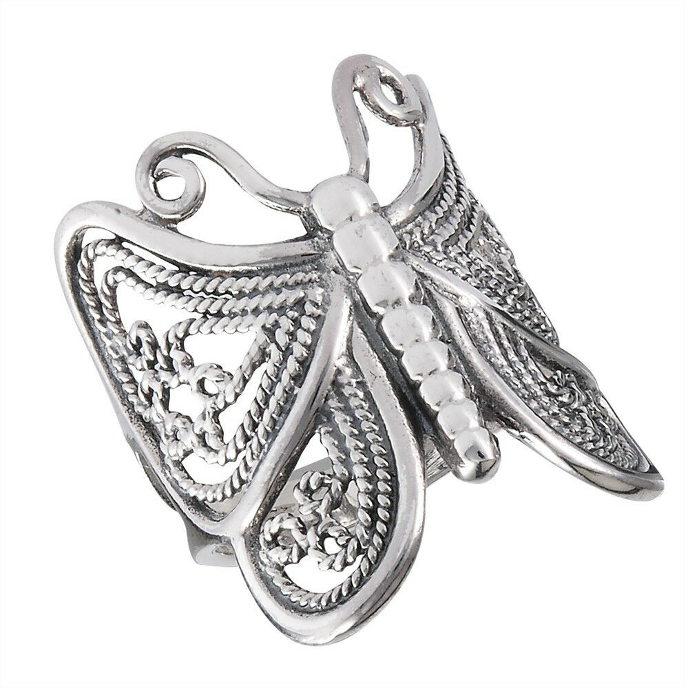 Sterling Silver Detailed BUTTERFLY Ring Size 6-10