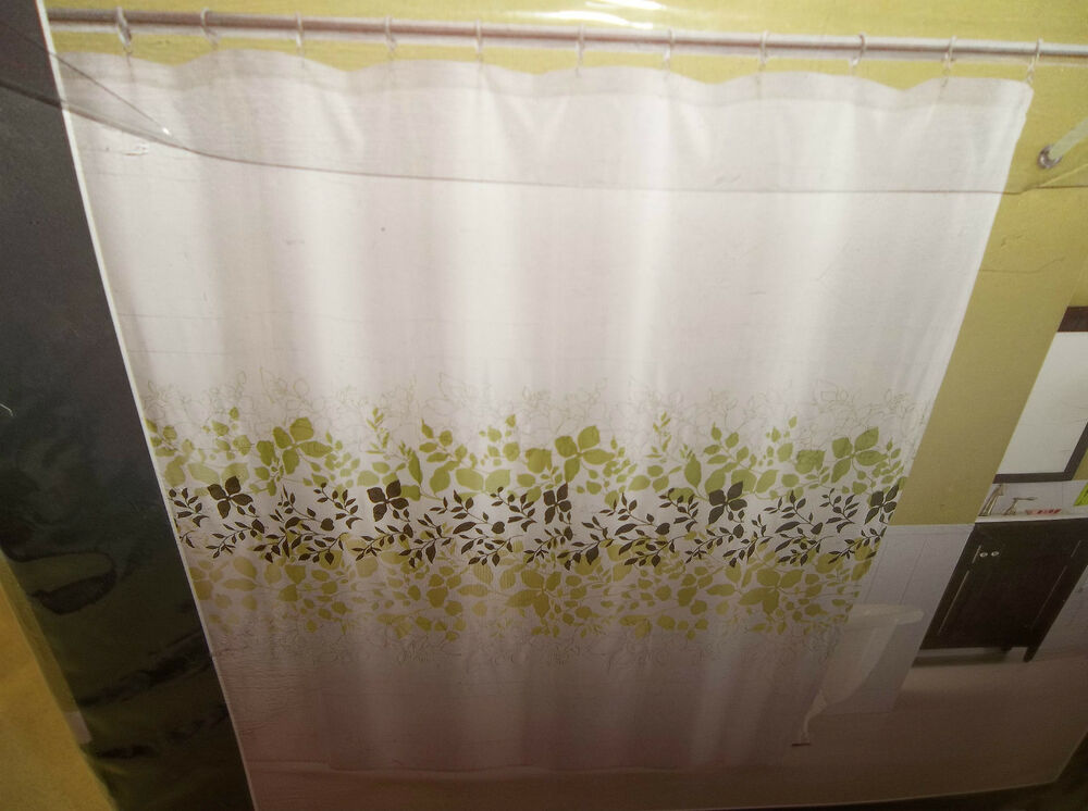 Shower curtain kas camilla green leaves embroidered