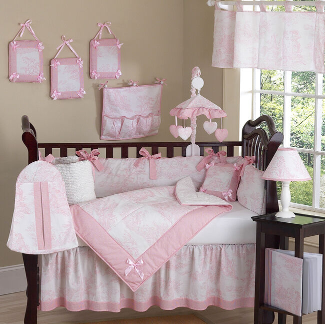 Pink Baby Girl Nursery: LUXURY BOUTIQUE FRENCH PINK WHITE TOILE DISCOUNT 9pc BABY
