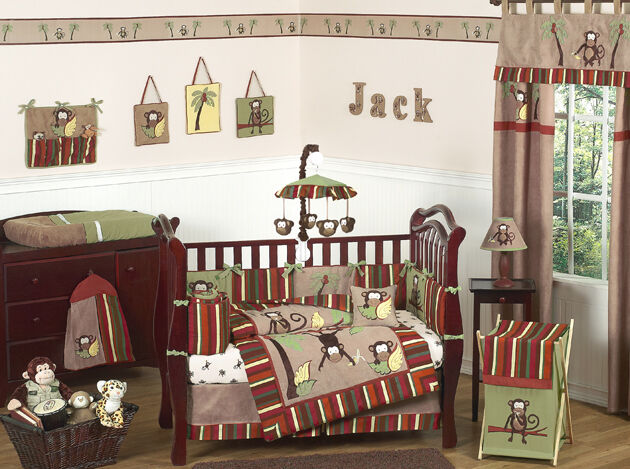 Cheap Unique Monkey Jungle Themed Baby Boy Crib Bedding
