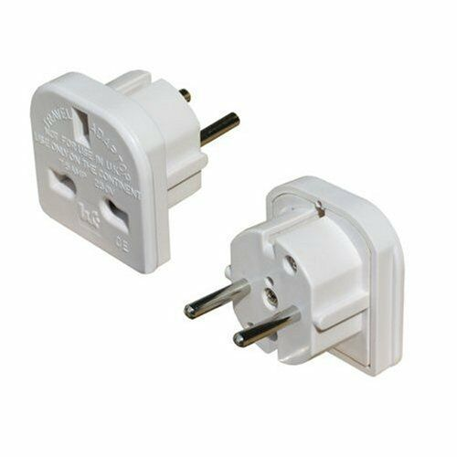 Uk To Eu Euro Europe European Travel Adaptor Plug 2 Pin