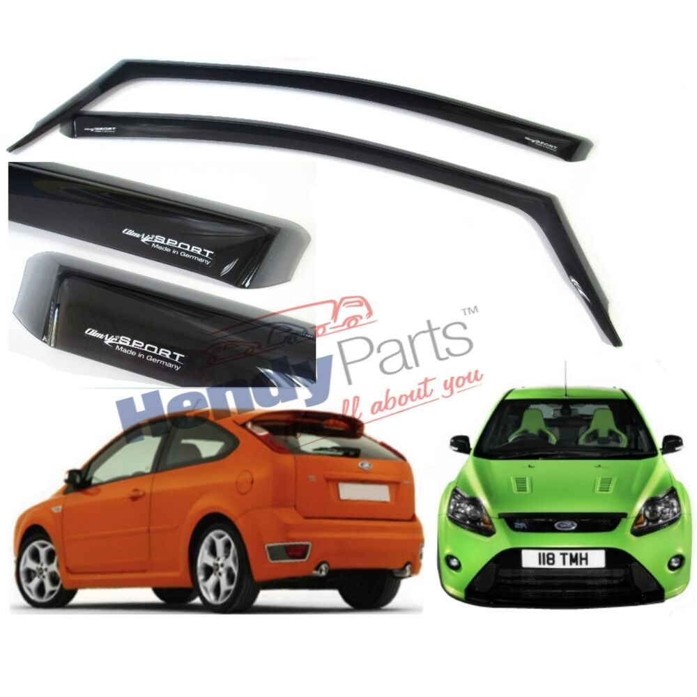 new genuine ford focus mk2 rs st225 sport 3 door climair wind air deflectors ebay. Black Bedroom Furniture Sets. Home Design Ideas
