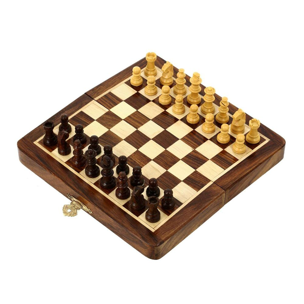 Unique Folding Travel Chess Board Games Wooden Pieces