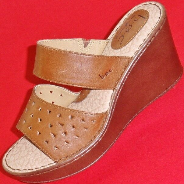 New Women S Born Boc C30041 Brown Leather Wedge Sandals