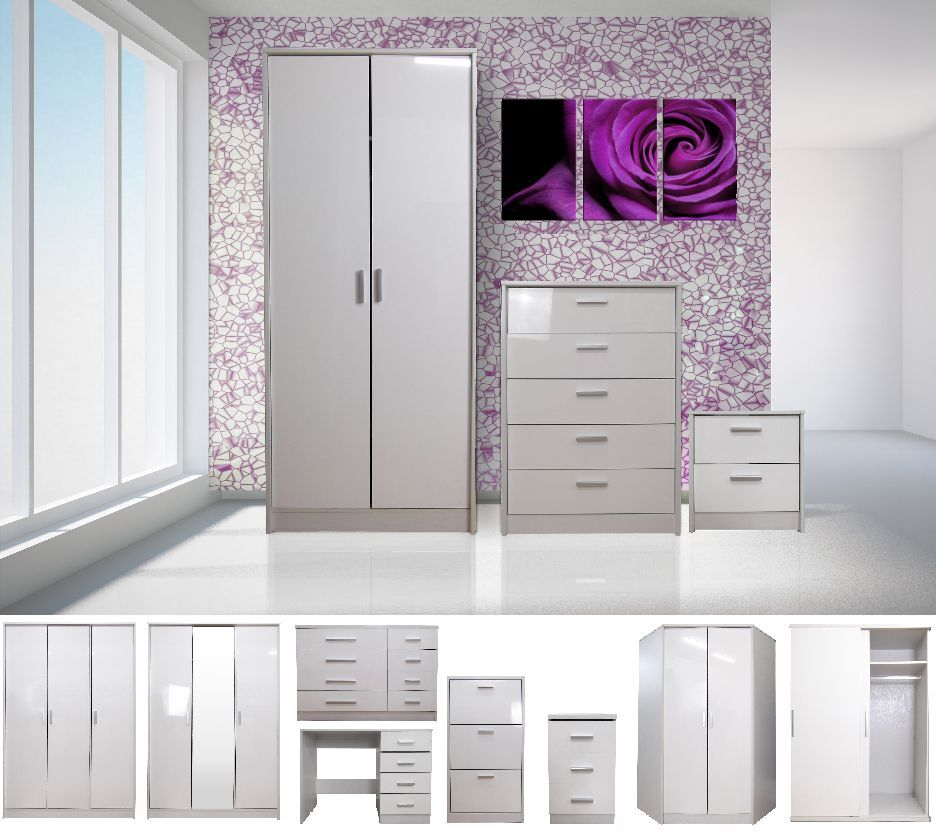High gloss white bedroom furniture range wardrobe tallboy for White dresser set bedroom furniture