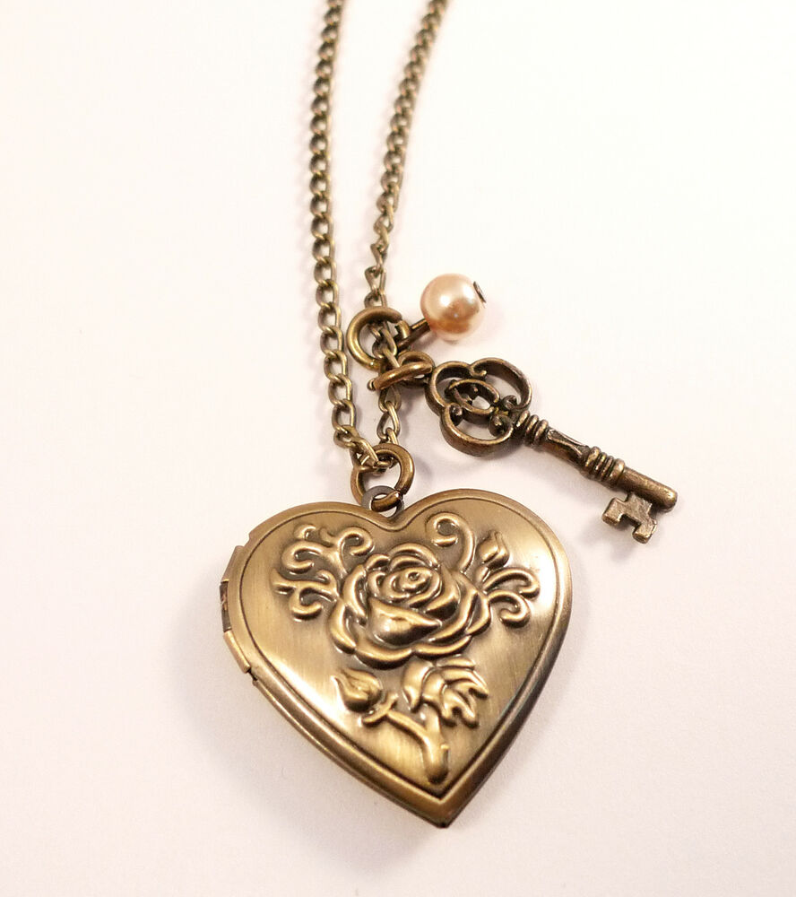 Antique Bronze Love Locket Necklace Vintage Style Jewellery Jewelry Heart Key Ebay