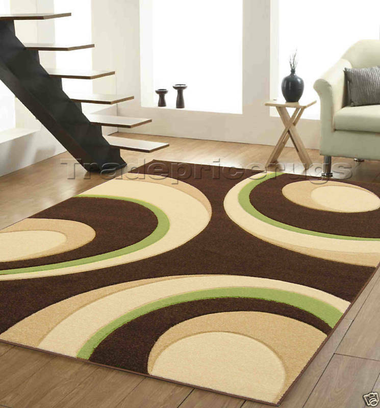Lime Green Overdyed Rug: LARGE MODERN CHOCOLATE BROWN BEIGE LIME GREEN CIRCLES HAND