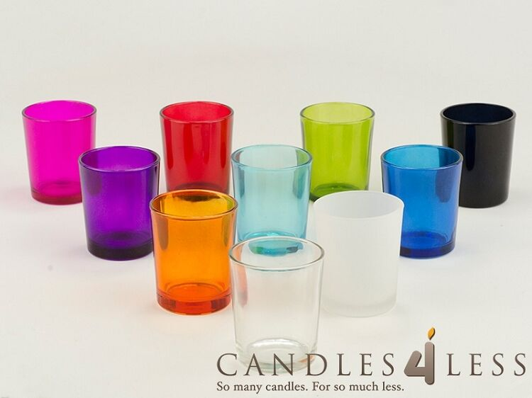 72 Colored Glass Votive Holders Choice Of 9 Colors Ebay