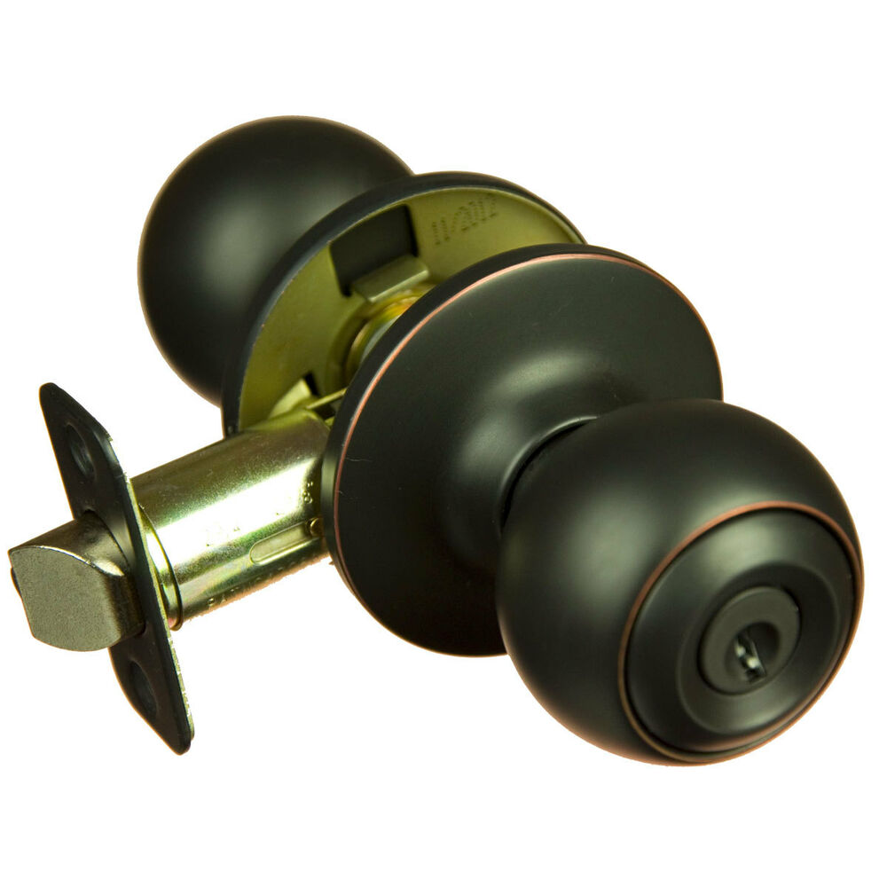 Piedmont oil rubbed bronze keyed entry door knob ebay for Exterior door knobs