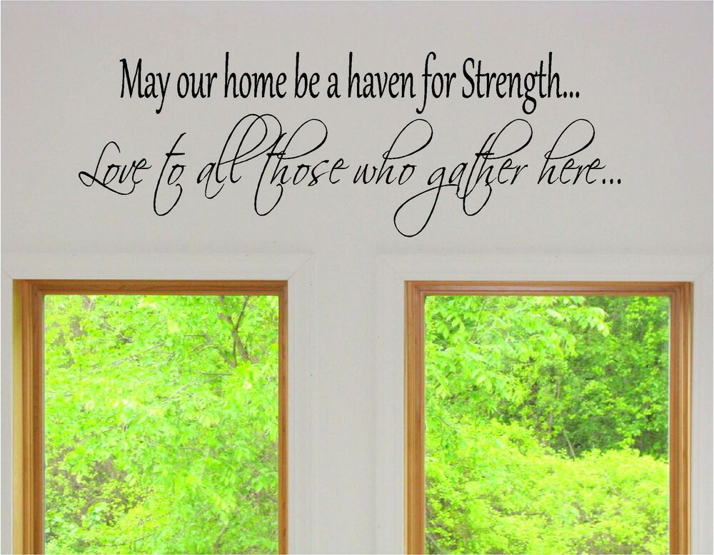 May our home be a haven for strength vinyl wall art words for Our home decor