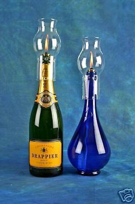 Make your own oil lamps with champagne bottles garden for Champagne bottle lamp