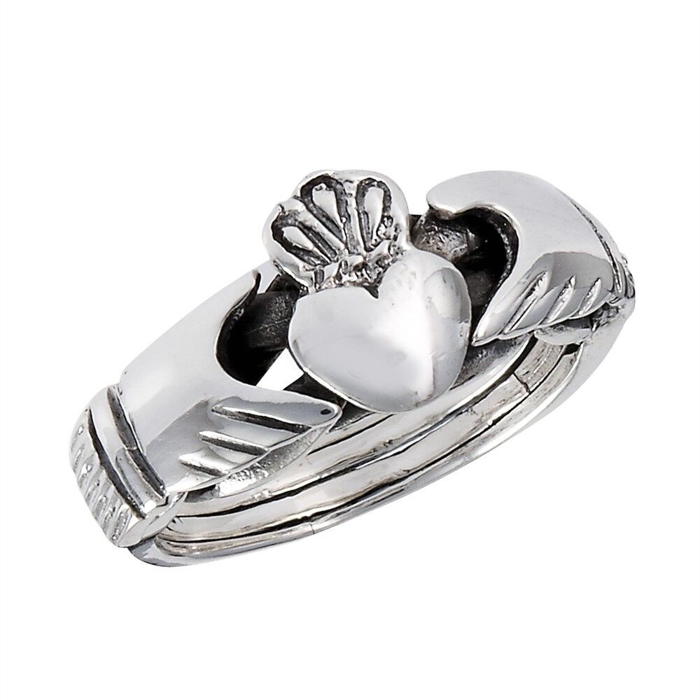 sterling silver claddagh 4 pc puzzle ring size 6 12 ebay