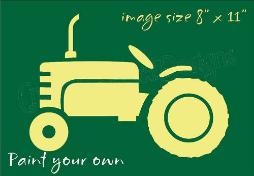 """STENCIL 8"""" Vintage Farm Tractor Shape Older Country"""