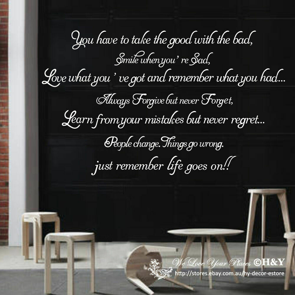 Quot Remember Life Goes On Quot Removable Wall Art Quotes Vinyl