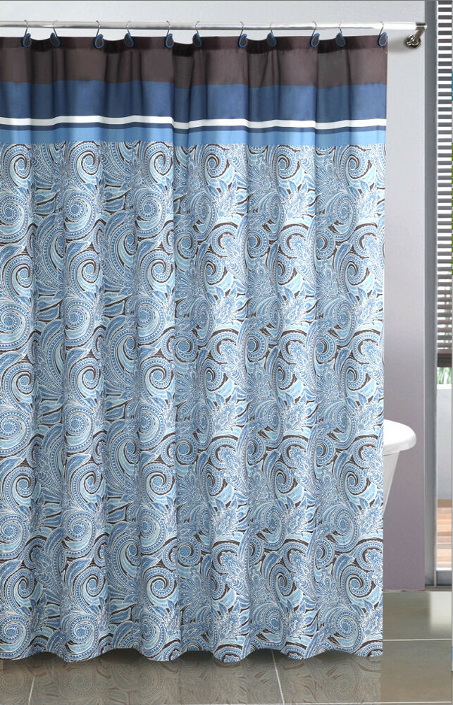 Vista Paisley Fabric Shower Curtain Available In 3 Colors
