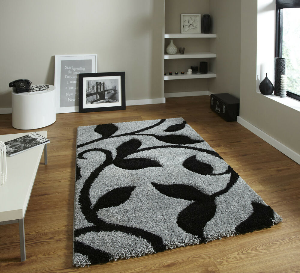 Black And White Rug Ebay Uk: LARGE THICK DEEP SHAG PILE GREY/SILVER BLACK SHAGGY SOFT