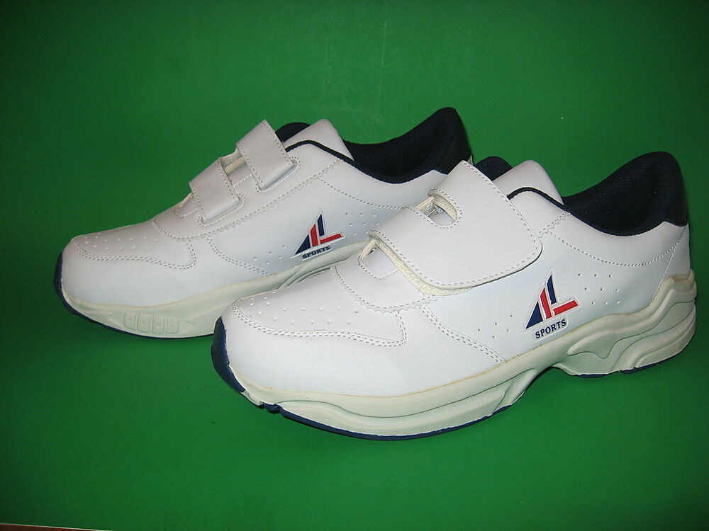 Mens White Velcro Athletic Shoes