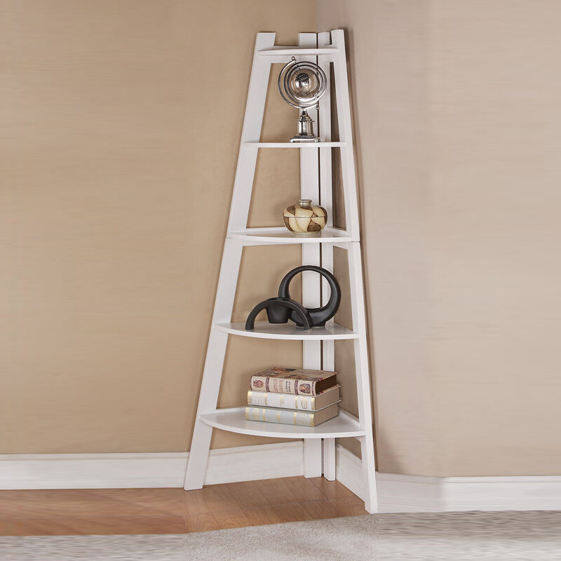 Lovely modern sleek finish white corner shelf bookcase for Modern corner bookshelf