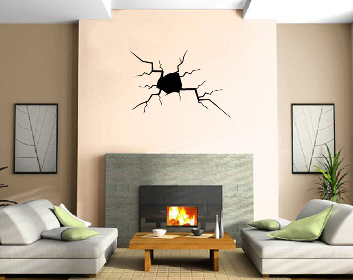 Crack In The Wall Split Hole Damage Decor Wall Art Mural