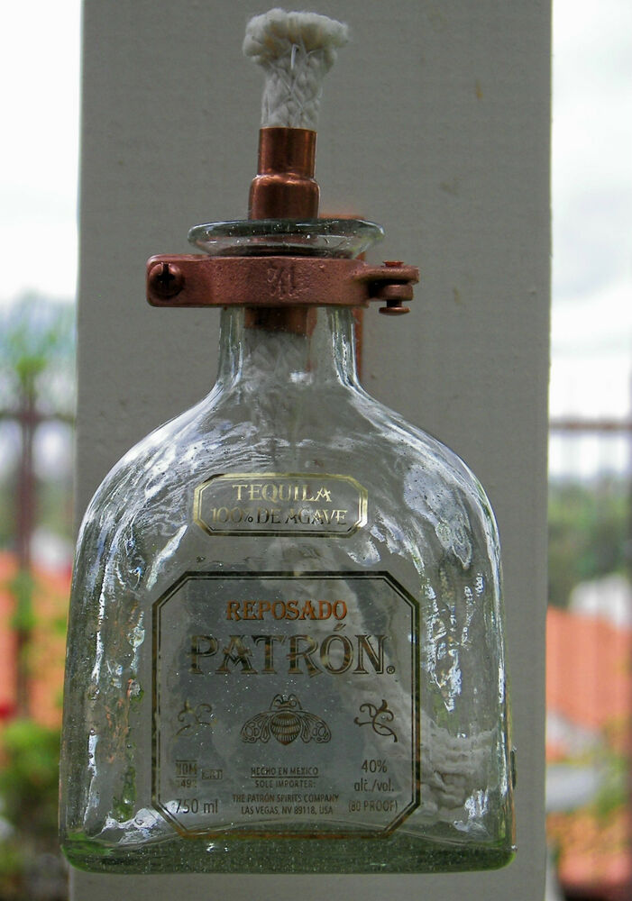 Copper Tiki Torch Hanging Oil Lamp Empty Patron Tequila