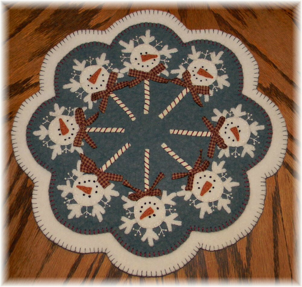 ~*FrOsTy PoPs*~ Snowman Penny Rug/Candle Mat PATTERN