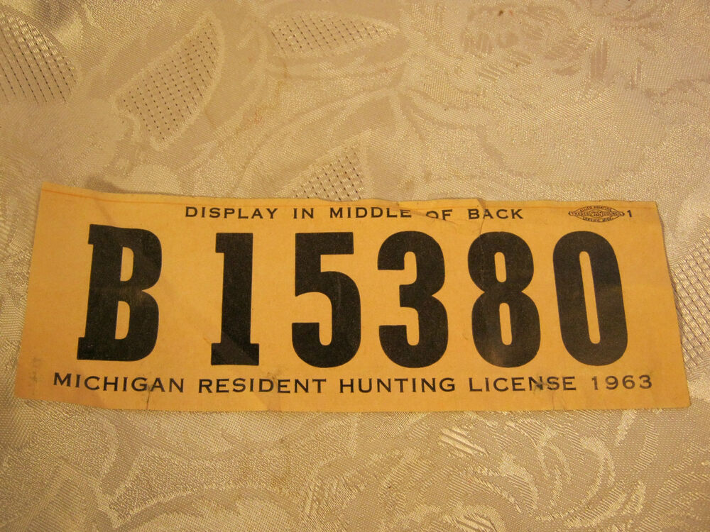 Michigan 1963 deer hunting license ebay for Michigan non resident fishing license
