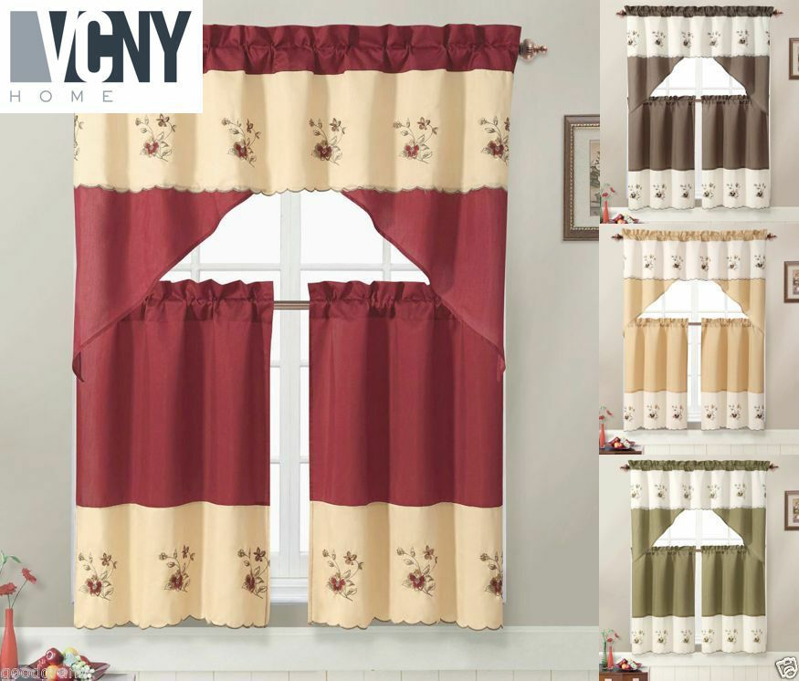 VCNY® Nancy Embroidered Kitchen Curtain Set