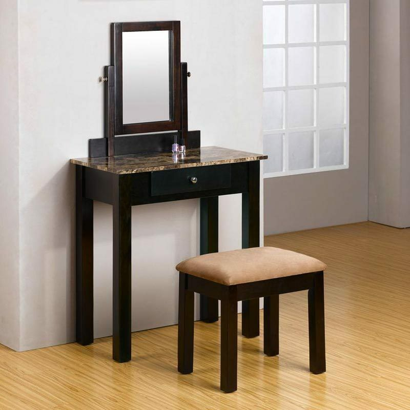concise lively style 2 pc espresso make up table dresser vanity set w bench ebay. Black Bedroom Furniture Sets. Home Design Ideas