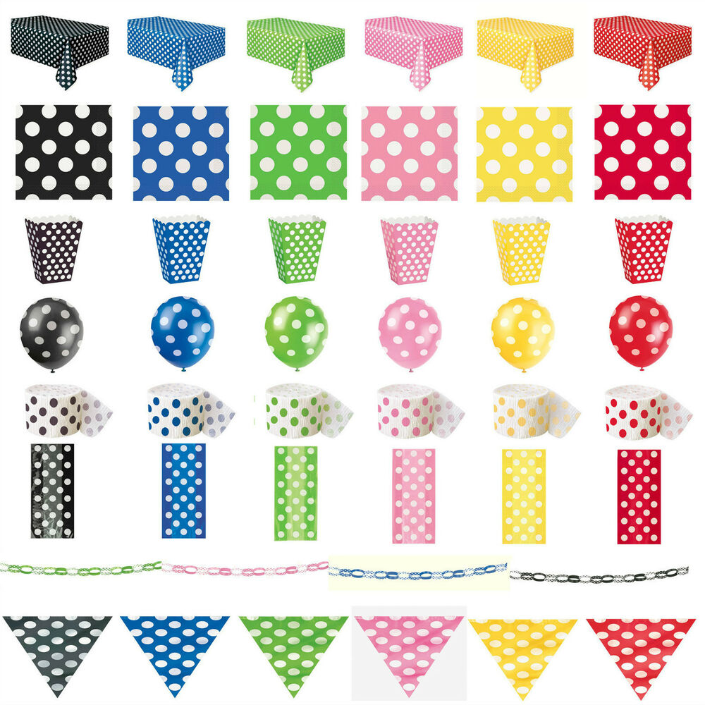 Polka dots party tableware birthday decorations black pink for Red and white polka dot decorations