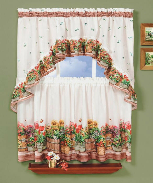 Country Garden™ Kitchen Curtain Tier And Swag Set By Achim