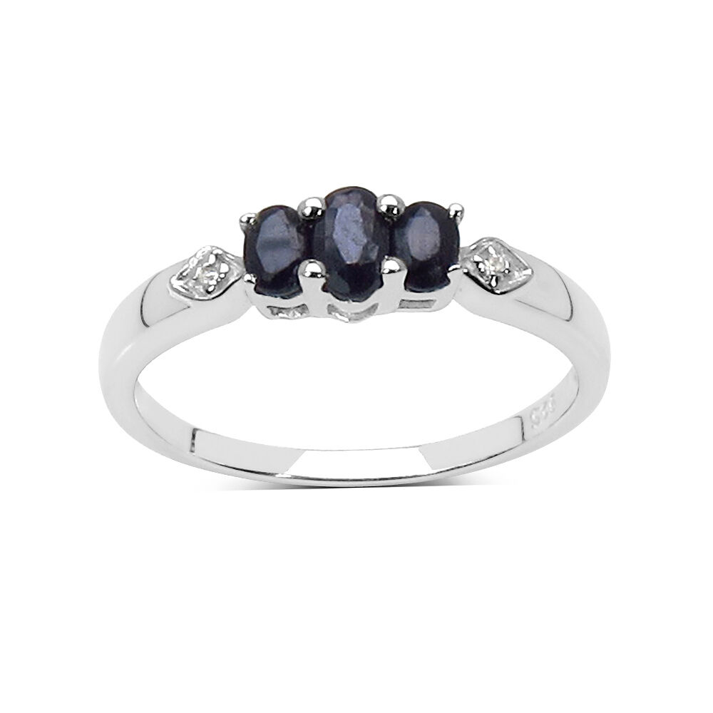 small sterling silver 3 sapphire engagement ring