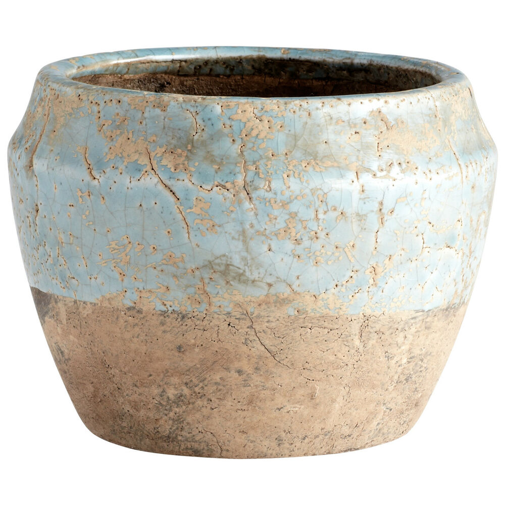 Large Sands Planter Ceramic With A Blue Glaze Finish