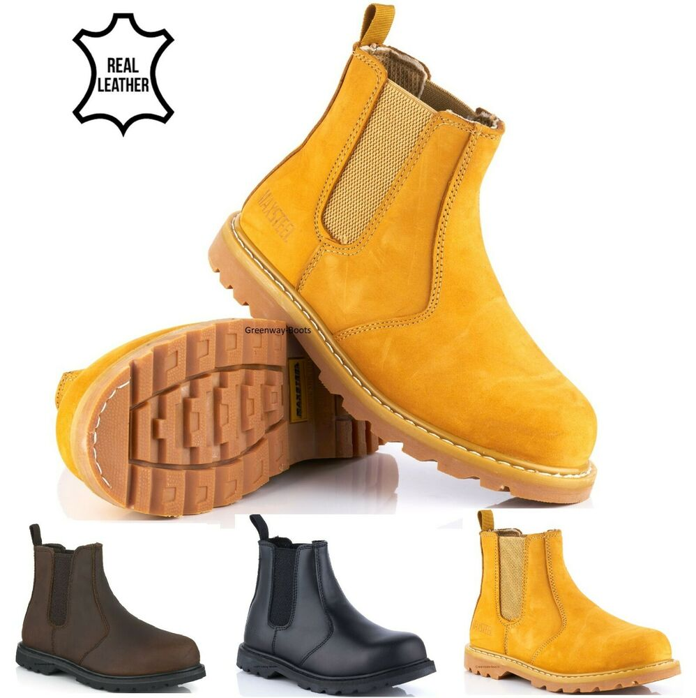 mens leather safety work chelsea dealer ankle boots steel