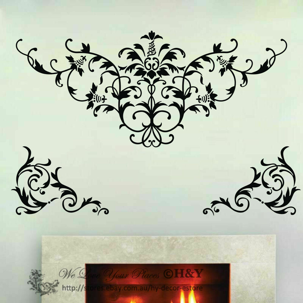 large damask removable wall art decals vinyl stickers mural home decor deco diy ebay. Black Bedroom Furniture Sets. Home Design Ideas