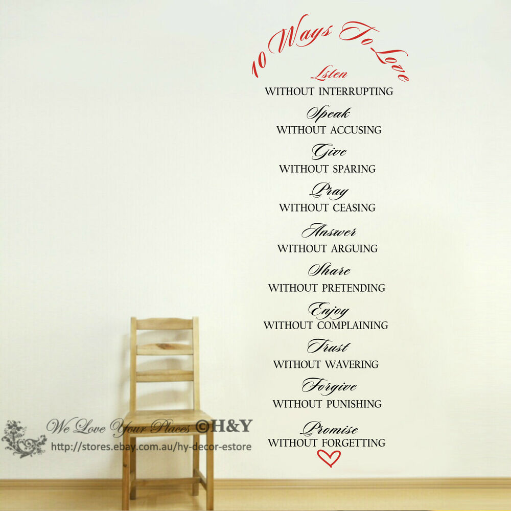 """Love Wall Quotes: """"10 Ways To LOVE"""" Wall Art Quote Removable Stickers Vinyl"""