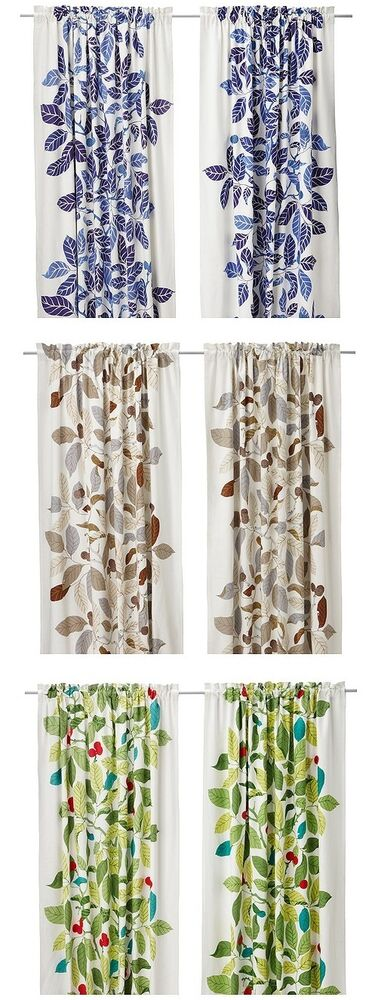 Ikea Stockholm Blad Curtains Drapes Green Blue Brown