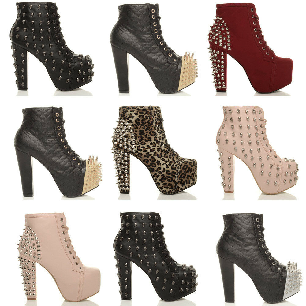 WOMENS LADIES HIGH BLOCK HEEL ZIP PLATFORM LACE UP ANKLE BOOTS ...