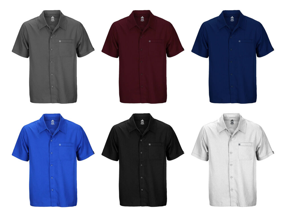 Adidas Mens Button Down Short Sleeve Casual Camp Polo
