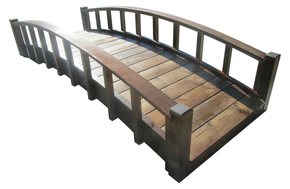8 39 japanese wood garden bridge with arched railings made for Japanese garden structures wood
