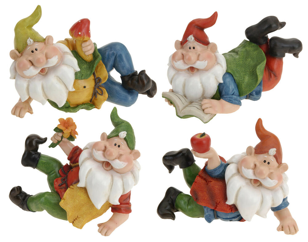 Gnome 4: Cute Reclining Garden Gnomes - 14cm - Choice Of 4 Types