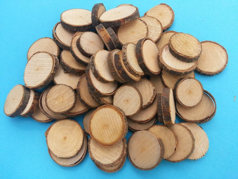rustic wooden discs with bark surround craft size choices large or small ebay