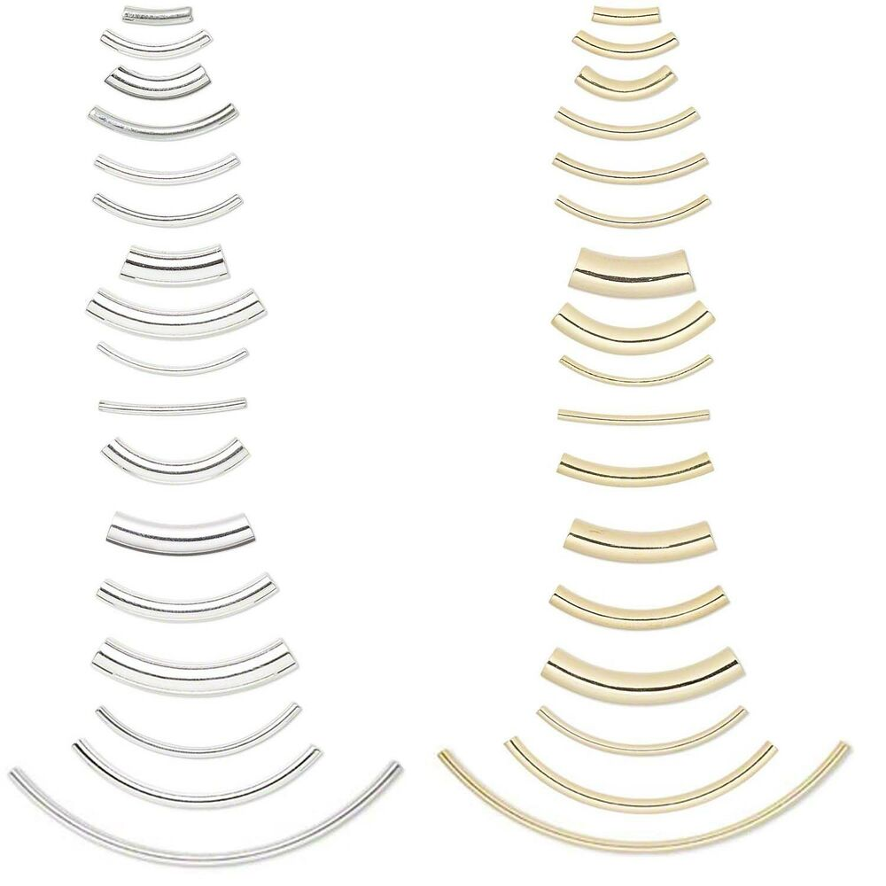 Curved tube plated elbow noodle beads in many sizes pkg