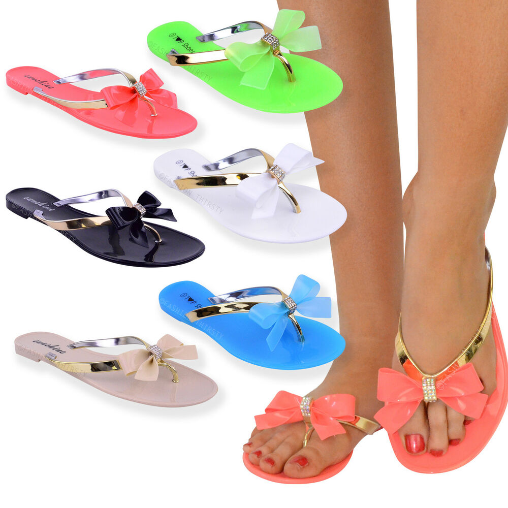 9caf968354c0 Details about WOMENS LADIES TOE BOW DIAMANTE JELLY SUMMER FLAT FLIP FLOP  THONG SANDALS SIZE